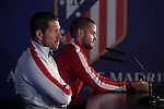 Atletico's coach Diego Simeone (L) and Mario Suarez during a press conference the day before quarterfinal first leg Champions League soccer match against Real Madrid at Vicente Calderon stadium in Madrid, Spain. April 13, 2015. (ALTERPHOTOS/Victor Blanco)