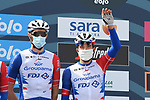 Thibaut Pinot (FRA) and Groupama-FDJ at sign on before the start of Stage 1 of Tirreno-Adriatico Eolo 2021, running 156km from Lido di Camaiore to Lido di Camaiore, Italy. 10th March 2021. <br /> Photo: LaPresse/Gian Mattia D'Alberto   Cyclefile<br /> <br /> All photos usage must carry mandatory copyright credit (© Cyclefile   LaPresse/Gian Mattia D'Alberto)