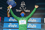 Vincenzo Albanese (ITA) Eolo-Kometa Cycling Team retains the mountains Maglia Verde at the end of Stage 3 of Tirreno-Adriatico Eolo 2021, running 219km from Monticiano to Gualdo Tadino, Italy. 12th March 2021. <br /> Photo: LaPresse/Gian Mattia D'Alberto | Cyclefile<br /> <br /> All photos usage must carry mandatory copyright credit (© Cyclefile | LaPresse/Gian Mattia D'Alberto)