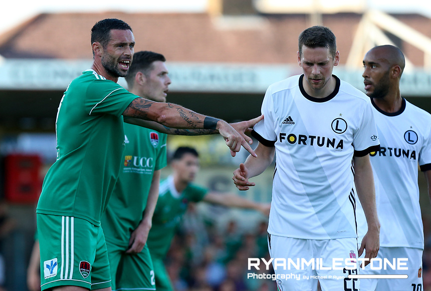 Damien Delaney of Cork City with Kasper Hamalainen of Legia Warsaw during the UEFA Champions League First Qualifying Round First Leg between Cork City and Legia Warsaw on Tuesday 10th July 2018 at Turners Cross, Cork. Photo By Michael P Ryan