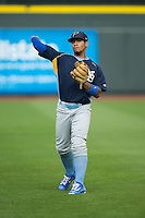 Myrtle Beach Pelicans shortstop Gleyber Torres (11) warms up in the outfield prior to the game against the Winston-Salem Dash at BB&T Ballpark on May 2, 2016 in Winston-Salem, North Carolina.  The Pelicans defeated the Dash 3-2 in 11 innings.  (Brian Westerholt/Four Seam Images)