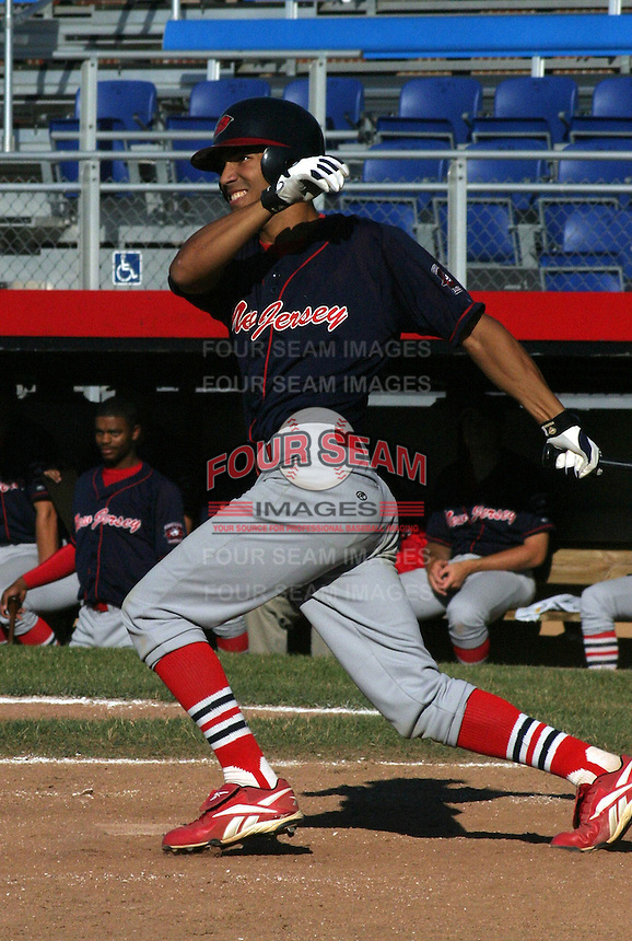 July 13, 2003:  Omar Pena of the New Jersey Cardinals during a game at Russell Diethrick Park in Jamestown, New York.  Photo by:  Mike Janes/Four Seam Images
