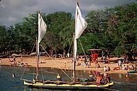 departure celebration of sailing vessels Hawai'i Loa & Hokule'a, Hilo, Big Island, Hawaii, Pacific Ocean