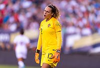 PHILADELPHIA, PA - AUGUST 29: Patricia Morais #12 of Portugal yells at the referee during a game between Portugal and the USWNT at Lincoln Financial Field on August 29, 2019 in Philadelphia, PA.