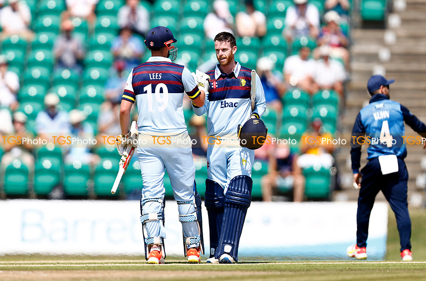 Alex Lees congratulates Graham Clark on his century for Durham during Kent Spitfires vs Durham, Royal London One-Day Cup Cricket at The Spitfire Ground on 22nd July 2021