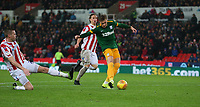Preston North End's Brad Potts scores his side's second goal despite the attentions of Stoke City's Ryan Shawcross<br /> <br /> Photographer Stephen White/CameraSport<br /> <br /> The EFL Sky Bet Championship - Stoke City v Preston North End - Saturday 26th January 2019 - bet365 Stadium - Stoke-on-Trent<br /> <br /> World Copyright © 2019 CameraSport. All rights reserved. 43 Linden Ave. Countesthorpe. Leicester. England. LE8 5PG - Tel: +44 (0) 116 277 4147 - admin@camerasport.com - www.camerasport.com