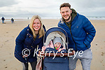 Enjoying a stroll in Banna beach on Sunday, l to r: Clare Adams, Amelie and Rory Horgan.