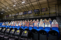SANTA CRUZ, CA - JANUARY 22: Fan cut-outs during a game between UCLA and Stanford University at Kaiser Arena on January 22, 2021 in Santa Cruz, California.