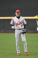 Stony Brook Seawolves outfielder Travis Jankowski #6 throwing in the outfield before a game against the East Carolina University Pirates at Clark-LeClair Stadium on March 4, 2012 in Greenville, NC.  East Carolina defeated Stony Brook 4-3. (Robert Gurganus/Four Seam Images)