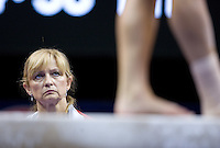 Brestyan's head coach Silvia Brestyan watches Alicia Sacramone on the beam during the 2012 US Olympic Trials competition at HP Pavilion in San Jose, California on June 29th, 2012.