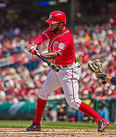 26 April 2014: Washington Nationals center fielder Denard Span in action against the San Diego Padres at Nationals Park in Washington, DC. The Nationals defeated the Padres 4-0 to take the third game of their 4-game series. Mandatory Credit: Ed Wolfstein Photo *** RAW (NEF) Image File Available ***