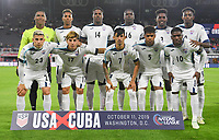 WASHINGTON, D.C. - OCTOBER 11:  Cuba starting eleven during their Nations League game between the USA and Cuba at Audi Field, on October 11, 2019 in Washington D.C.
