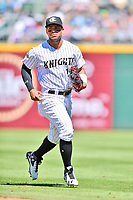 Charlotte Knights second baseman Yoan Moncada (10) during a game against the  Gwinnett Braves at BB&T Ballpark on May 7, 2017 in Charlotte, North Carolina. The Knights defeated the Braves 7-1. (Tony Farlow/Four Seam Images)