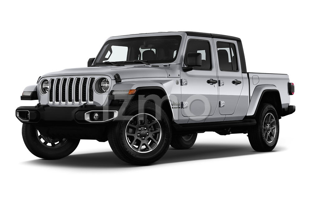 Stock pictures of low aggressive front three quarter view of a 2020 Jeep Gladiator Overland 4 Door Pick Up