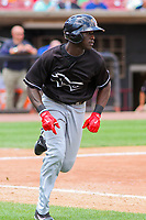 Quad Cities River Bandits outfielder Daz Cameron (16) runs to first base during a Midwest League game against the Wisconsin Timber Rattlers on June 27, 2017 at Fox Cities Stadium in Appleton, Wisconsin.  Quad Cities defeated Wisconsin 6-5. (Brad Krause/Four Seam Images)
