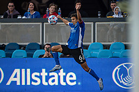 SAN JOSE, CA - AUGUST 17: Shea Salinas #6 of the San Jose Earthquakes jumps for the ball during a game between San Jose Earthquakes and Minnesota United FC at PayPal Park on August 17, 2021 in San Jose, California.