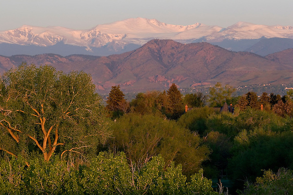 Mount Evans seen from Denver, Colorado. John offers private photo tours of Denver, Boulder and Rocky Mountain National Park.