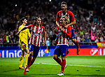 Antoine Griezmann of Atletico de Madrid celebrates with teammates Jorge Resurreccion Merodio, Koke and Filipe Luis during the UEFA Champions League 2017-18 match between Atletico de Madrid and Chelsea FC at the Wanda Metropolitano on 27 September 2017, in Madrid, Spain. Photo by Diego Gonzalez / Power Sport Images