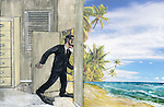 Conceptual shot of businessman wearing snorkel and flippers escaping from work