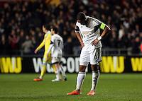 Swansea, UK. Thursday 20 February 2014<br /> Pictured: A disappointed Swansea captain Ashley Williams after the game.<br /> Re: UEFA Europa League, Swansea City FC v SSC Napoli at the Liberty Stadium, south Wales, UK