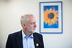 © Joel Goodman - 07973 332324 . 24/09/2016 . Liverpool , UK . JEREMY CORBYN visits Beaconsfield Community House in Birkenhead , following his victory declaration . The centre provides clothes and food that would otherwise be destined for waste from supermarkets , to local residents in need . Photo credit : Joel Goodman