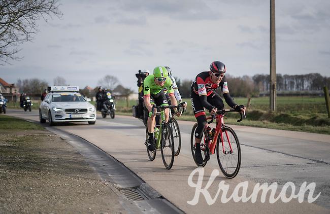 race leaders Greg Van Avermaet (BEL/BMC), Sep Vanmarcke (BEL/Cannondale-Drapac) & Peter Sagan (SVK/Bora-Hansgrohe) racing for the podium<br /> <br /> 72nd Omloop Het Nieuwsblad 2017