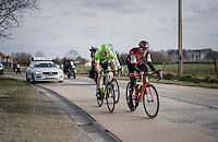 race leaders Greg Van Avermaet (BEL/BMC), Sep Vanmarcke (BEL/Cannondale-Drapac) & Peter Sagan (SVK/Bora-Hansgrohe) racing for the podium<br /> <br /> 72nd Omloop Het Nieuwsblad 2017