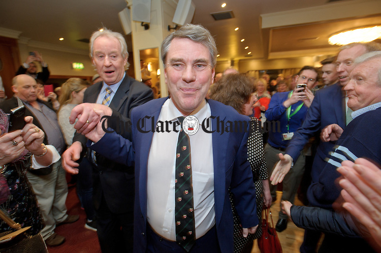 Dr Michael Harty, Independent, arrives with James Breen and his wife Gerry O Meara. Photograph by John Kelly.