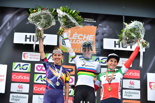 World Champion Anna Van Der Breggen (NED) Team SD Worx wins the 2021 Flèche-Wallonne Femmes with Katarzyna Niewiadoma (POL) Canyon//SRAM Racing in 2nd place and Italian Champion Elisa Longo Borghini (ITA) Trek-Segafredo 3rd, running 130.2 km from Huy to Huy, Belgium. 21st April 2021.  <br /> Picture: A.S.O./Gautier Demouveaux | Cyclefile<br /> <br /> All photos usage must carry mandatory copyright credit (© Cyclefile | A.S.O./Gautier Demouveaux)