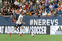 FOXBOROUGH, MA - AUGUST 18: Steven Birnbaum #15 of D.C. United brings the ball forward during a game between D.C. United and New England Revolution at Gillette Stadium on August 18, 2021 in Foxborough, Massachusetts.