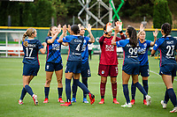 TACOMA, WA - JULY 31: OL Reign before a game between Racing Louisville FC and OL Reign at Cheney Stadium on July 31, 2021 in Tacoma, Washington.