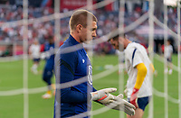 NASHVILLE, TN - SEPTEMBER 5: Ethan Horvath #18 of the United States warms up during a game between Canada and USMNT at Nissan Stadium on September 5, 2021 in Nashville, Tennessee.