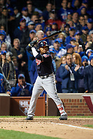 Cleveland Indians Jose Ramirez (11) bats in the ninth inning during Game 5 of the Major League Baseball World Series against the Chicago Cubs on October 30, 2016 at Wrigley Field in Chicago, Illinois.  (Mike Janes/Four Seam Images)