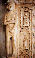 Romaesque doorway with sculptures of Eve by the Croatian architect Master Radovan. Saint Lawrence Cathedral - Trogir - Croatia
