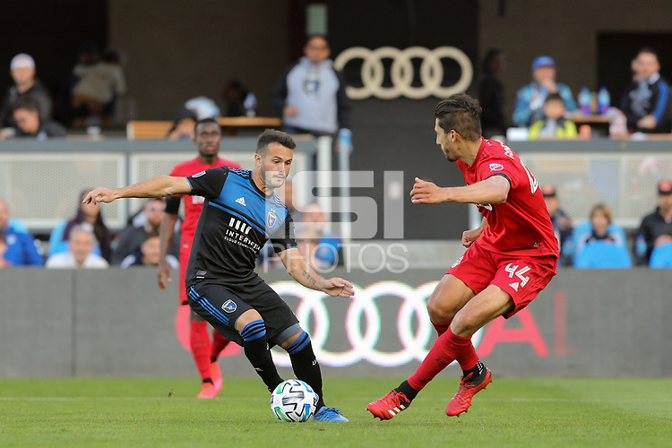 SAN JOSE, CA - FEBRUARY 29: Vako #11 of the San Jose Earthquakes is marked by Omar Gonzalez #44 of Toronto FC during a game between Toronto FC and San Jose Earthquakes at Earthquakes Stadium on February 29, 2020 in San Jose, California.