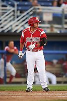 Batavia Muckdogs first baseman Eric Gutierrez (43) at bat during a game against the Brooklyn Cyclones on July 5, 2016 at Dwyer Stadium in Batavia, New York.  Brooklyn defeated Batavia 5-1.  (Mike Janes/Four Seam Images)