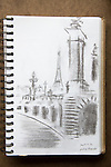 River Seine, Paris, charcoal on paper, Joel Rogers, Journal Art, Journal Art 2002, Paris,