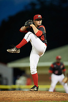 Batavia Muckdogs relief pitcher RJ Peace (25) delivers a pitch during a game against the Auburn Doubledays on June 19, 2017 at Dwyer Stadium in Batavia, New York.  Batavia defeated Auburn 8-2 in both teams opening game of the season.  (Mike Janes/Four Seam Images)