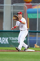 Auburn Doubledays first baseman David Kerian (21) waits for a throw during a game against the Tri-City ValleyCats on August 25, 2016 at Falcon Park in Auburn, New York.  Tri-City defeated Auburn 4-3.  (Mike Janes/Four Seam Images)