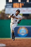 West Virginia Black Bears left fielder Edison Lantigua (18) runs the bases during a game against the Batavia Muckdogs on June 20, 2018 at Dwyer Stadium in Batavia, New York.  West Virginia defeated Batavia 4-3.  (Mike Janes/Four Seam Images)