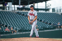 Peoria Javelinas relief pitcher Kyle Muller (22), of the Atlanta Braves organization, gets ready to deliver a pitch during an Arizona Fall League game against the Mesa Solar Sox at Sloan Park on October 11, 2018 in Mesa, Arizona. Mesa defeated Peoria 10-9. (Zachary Lucy/Four Seam Images)