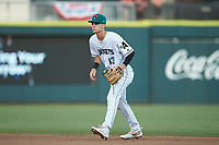 Augusta GreenJackets second baseman Jett Manning (13) on defense against the Kannapolis Intimidators at SRG Park on July 6, 2019 in North Augusta, South Carolina. The Intimidators defeated the GreenJackets 9-5. (Brian Westerholt/Four Seam Images)