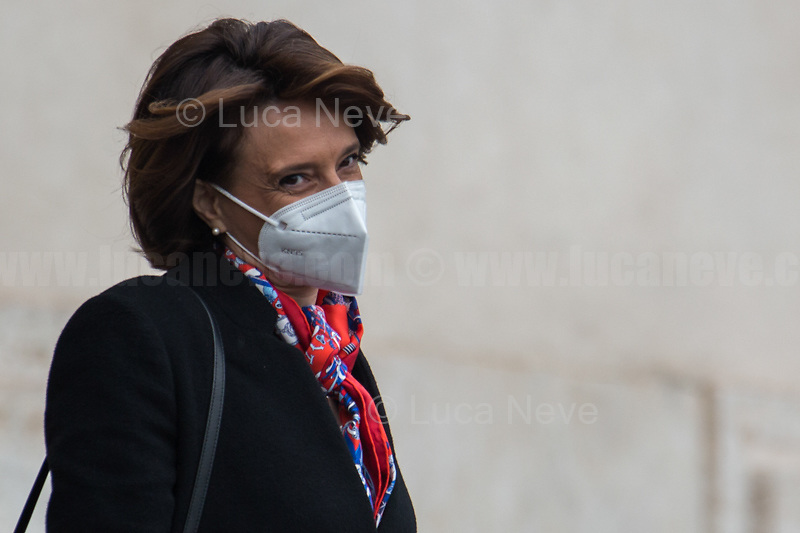Elena Bonetti, Minister of Family, Disability and Equal Opportunities.<br /> <br /> Rome, Italy. 13th Feb, 2021. The new Italian Government, led by Professor and former President of the ECB - European Central Bank - Mario Draghi, leaves the Palazzo del Quirinale (Quirinale Palace) after swearing in front of the President of the Italian Republic, Sergio Mattarella. This is the 67th Government of Italy.<br /> <br /> Footnotes & Links:<br /> Italian Government website: http://www.governo.it/