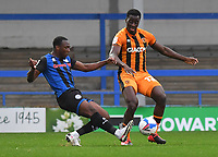 Hull City's Josh Emmanuel battles for the ball<br /> <br /> Photographer Dave Howarth/CameraSport<br /> <br /> The EFL Sky Bet League One - Rochdale v Hull City - Saturday 17th October 2020 - Spotland Stadium - Rochdale<br /> <br /> World Copyright © 2020 CameraSport. All rights reserved. 43 Linden Ave. Countesthorpe. Leicester. England. LE8 5PG - Tel: +44 (0) 116 277 4147 - admin@camerasport.com - www.camerasport.com