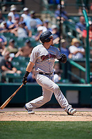 Scranton/Wilkes-Barre RailRiders Logan Morrison (5) at bat during an International League game against the Rochester Red Wings on June 25, 2019 at Frontier Field in Rochester, New York.  Rochester defeated Scranton 10-9.  (Mike Janes/Four Seam Images)