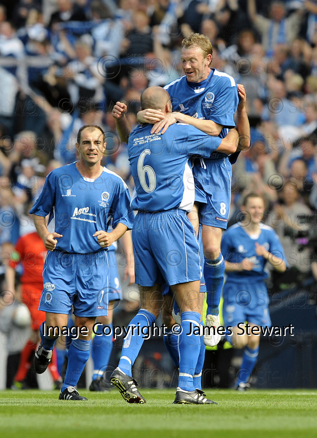 24/05/2008   Copyright Pic: James Stewart.File Name : sct_jspa22_qots_v_rangers.JIM THOMSON CELEBRATES WITH STEVE TOSH AFTER HE SCORES QUEEN'S SECOND.James Stewart Photo Agency 19 Carronlea Drive, Falkirk. FK2 8DN      Vat Reg No. 607 6932 25.Studio      : +44 (0)1324 611191 .Mobile      : +44 (0)7721 416997.E-mail  :  jim@jspa.co.uk.If you require further information then contact Jim Stewart on any of the numbers above........