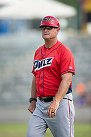 Orem Owlz manager Dave Stapleton (22) during a Pioneer League game against the Missoula Osprey at Ogren Park Allegiance Field on August 19, 2018 in Missoula, Montana. The Missoula Osprey defeated the Orem Owlz by a score of 8-0. (Zachary Lucy/Four Seam Images)