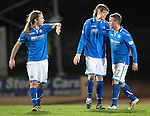St Johnstone v St Mirren.....11.01.14   SPFL<br /> Chris Millar congratulates the goal scorers Stevie May and Murray Davidson<br /> Picture by Graeme Hart.<br /> Copyright Perthshire Picture Agency<br /> Tel: 01738 623350  Mobile: 07990 594431