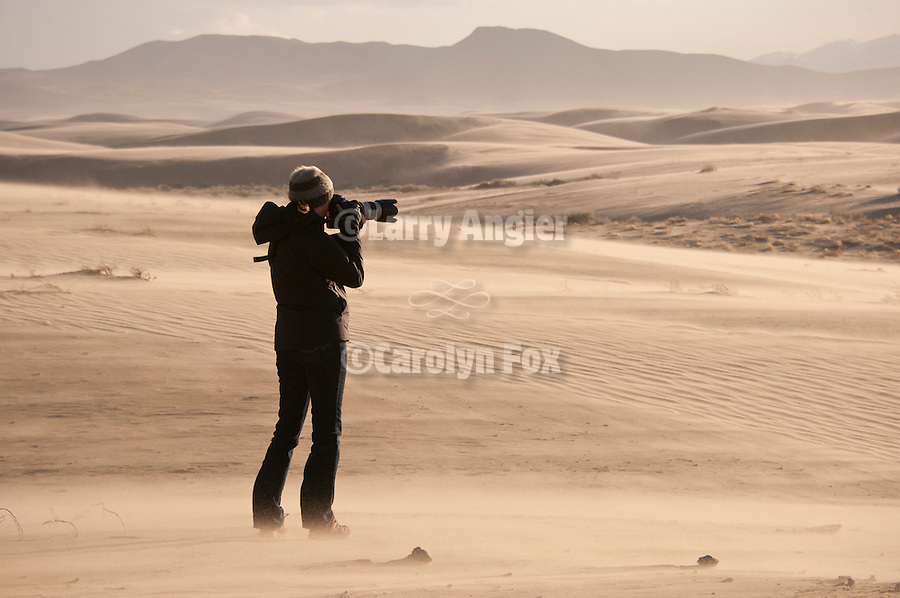 """Shooting the West XXIII photo symposium, Winnemucca, Nev. """"The Nevada Photography Experience""""..Photographers shooting at the dunes that became a sandstorm there, Silver State Valley Dunes."""
