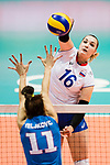 Wing spiker Irina Voronkova of Russia spikes the ball during the FIVB Volleyball World Grand Prix match between Serbia vs Russia on July 21, 2017 in Hong Kong, China. Photo by Marcio Rodrigo Machado / Power Sport Images